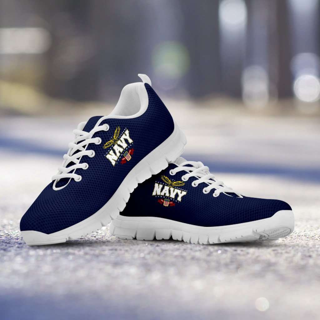 Designs by MyUtopia Shout Out:Navy Wings Running Shoes,Kid's / Kid's 11 CHILD (EU28) / Navy Blue/White,Running Shoes