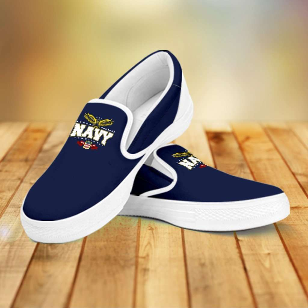Designs by MyUtopia Shout Out:Navy Wings Slip-on Shoes,Woman's / Woman's US6 (EU36) / Navy,Slip on sneakers