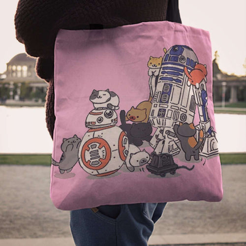 Designs by MyUtopia Shout Out:Neko's and Droids Fabric Totebag Reusable Shopping Tote