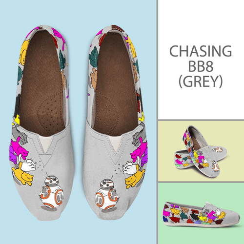 Designs by MyUtopia Shout Out:Nekos Chasing BB-8 - Casual Canvas Slip on Shoes Women's Flats,Grey / Ladies US6 (EU36),Slip on Flats