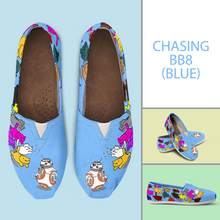 Load image into Gallery viewer, Designs by MyUtopia Shout Out:Nekos Chasing BB-8 - Casual Canvas Slip on Shoes Women's Flats,Blue / Ladies US6 (EU36),Slip on Flats