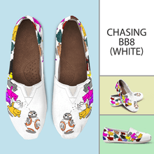 Load image into Gallery viewer, Designs by MyUtopia Shout Out:Nekos Chasing BB-8 - Casual Canvas Slip on Shoes Women's Flats,White / Ladies US6 (EU36),Slip on Flats