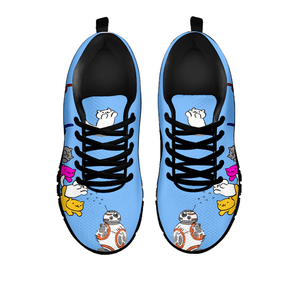 Designs by MyUtopia Shout Out:Nekos Chasing BB-8  Mesh Running Shoes,Blue / Black / Ladies US5 (EU35),Running Shoes