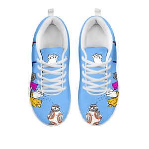 Designs by MyUtopia Shout Out:Nekos Chasing BB-8  Mesh Running Shoes,Blue / White / Ladies US5 (EU35),Running Shoes