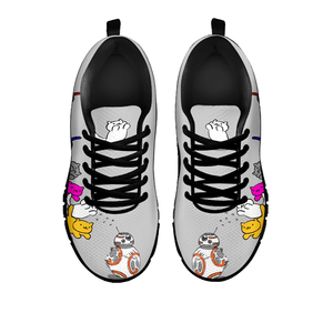 Designs by MyUtopia Shout Out:Nekos Chasing BB-8  Mesh Running Shoes,Grey / Black / Ladies US5 (EU35),Running Shoes