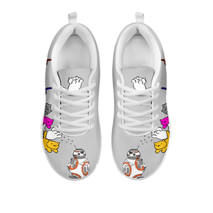 Designs by MyUtopia Shout Out:Nekos Chasing BB-8  Mesh Running Shoes,Grey / White / Ladies US5 (EU35),Running Shoes