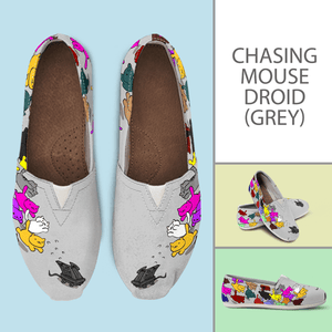 Designs by MyUtopia Shout Out:Nekos Chasing Mouse Droid - Casual Canvas Slip on Shoes Women's Flats,Grey / Ladies US6 (EU36),Slip on Flats