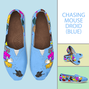 Designs by MyUtopia Shout Out:Nekos Chasing Mouse Droid - Casual Canvas Slip on Shoes Women's Flats,Blue / Ladies US6 (EU36),Slip on Flats