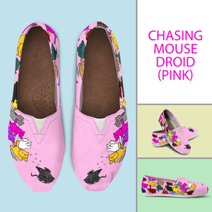 Designs by MyUtopia Shout Out:Nekos Chasing Mouse Droid - Casual Canvas Slip on Shoes Women's Flats,Pink / Ladies US6 (EU36),Slip on Flats