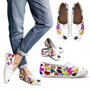 Designs by MyUtopia Shout Out:Nekos Chasing Mouse Droid - Casual Canvas Slip on Shoes Women's Flats