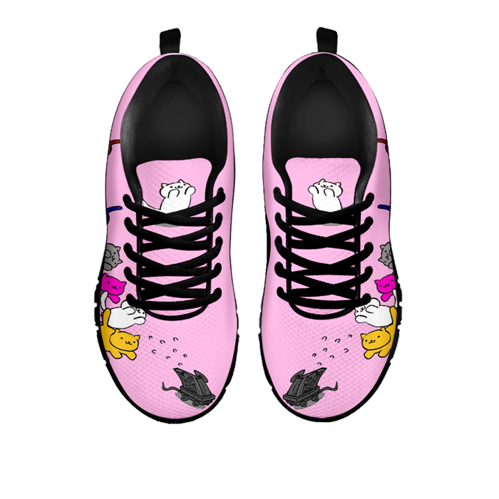 Designs by MyUtopia Shout Out:Nekos Chasing Mouse Droid - Women's Running Shoes,Pink / Black / Ladies US5 (EU35),Running Shoes