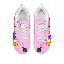 Load image into Gallery viewer, Designs by MyUtopia Shout Out:Nekos Chasing Mouse Droid - Women's Running Shoes,Pink / White / Ladies US5 (EU35),Running Shoes