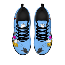 Load image into Gallery viewer, Designs by MyUtopia Shout Out:Nekos Chasing Mouse Droid - Women's Running Shoes,Blue / Black / Ladies US5 (EU35),Running Shoes
