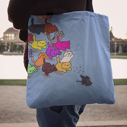 Designs by MyUtopia Shout Out:Nekos Chasing Mouse Droid Fabric Totebag Reusable Shopping Tote