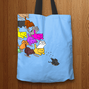 Designs by MyUtopia Shout Out:Nekos Chasing Mouse Droid Fabric Totebag Reusable Shopping Tote,Blue,Reusable Fabric Shopping Tote Bag