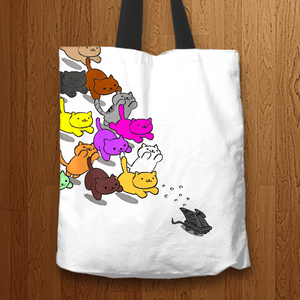 Designs by MyUtopia Shout Out:Nekos Chasing Mouse Droid Fabric Totebag Reusable Shopping Tote,White,Reusable Fabric Shopping Tote Bag