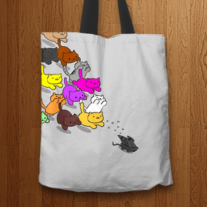 Designs by MyUtopia Shout Out:Nekos Chasing Mouse Droid Fabric Totebag Reusable Shopping Tote,Grey,Reusable Fabric Shopping Tote Bag