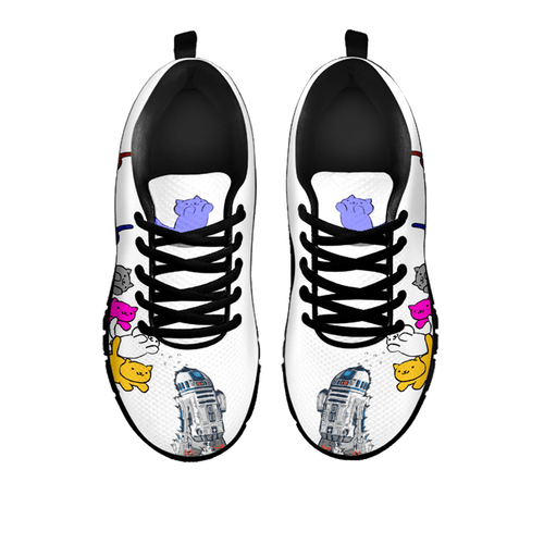 Designs by MyUtopia Shout Out:Nekos Chasing R2-D2 - Women's Running Shoes,White / Black / Ladies US5 (EU35),Running Shoes