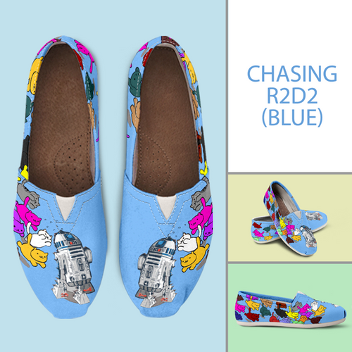 Designs by MyUtopia Shout Out:Nekos Chasing R2-D2 Casual Canvas Slip on Shoes Women's Flats,Blue / Ladies US6 (EU36),Slip on Flats