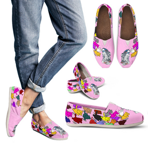 Designs by MyUtopia Shout Out:Nekos Chasing R2-D2 Casual Canvas Slip on Shoes Women's Flats