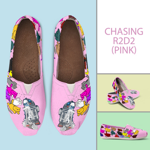 Designs by MyUtopia Shout Out:Nekos Chasing R2-D2 Casual Canvas Slip on Shoes Women's Flats,Pink / Ladies US6 (EU36),Slip on Flats