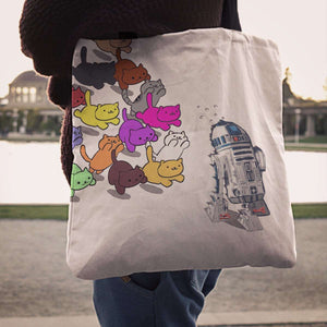 Designs by MyUtopia Shout Out:Nekos Chasing R2-D2 Fabric Totebag Reusable Shopping Tote
