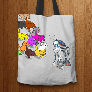 Designs by MyUtopia Shout Out:Nekos Chasing R2-D2 Fabric Totebag Reusable Shopping Tote,Grey,Reusable Fabric Shopping Tote Bag