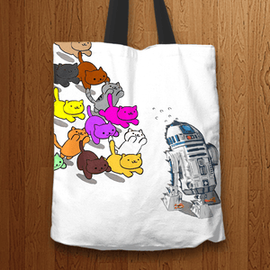 Designs by MyUtopia Shout Out:Nekos Chasing R2-D2 Fabric Totebag Reusable Shopping Tote,White,Reusable Fabric Shopping Tote Bag