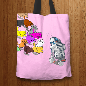 Designs by MyUtopia Shout Out:Nekos Chasing R2-D2 Fabric Totebag Reusable Shopping Tote,Pink,Reusable Fabric Shopping Tote Bag