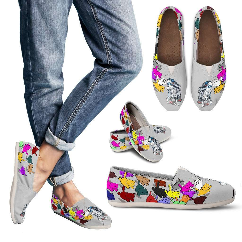 Designs by MyUtopia Shout Out:Neko's Chasing R2-D2 Grey Casual Canvas Slip on Shoes Women's Flats,Ladies US6 (EU36) / Grey/Multi,Slip on Flats