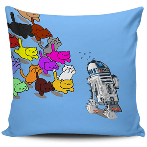 Designs by MyUtopia Shout Out:Nekos Chasing R2-D2 Pillowcases,Blue,Pillowcases