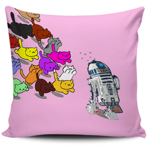 Designs by MyUtopia Shout Out:Nekos Chasing R2-D2 Pillowcases,Pink,Pillowcases
