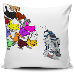 Designs by MyUtopia Shout Out:Nekos Chasing R2-D2 Pillowcases,White,Pillowcases
