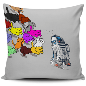 Designs by MyUtopia Shout Out:Nekos Chasing R2-D2 Pillowcases,Grey,Pillowcases
