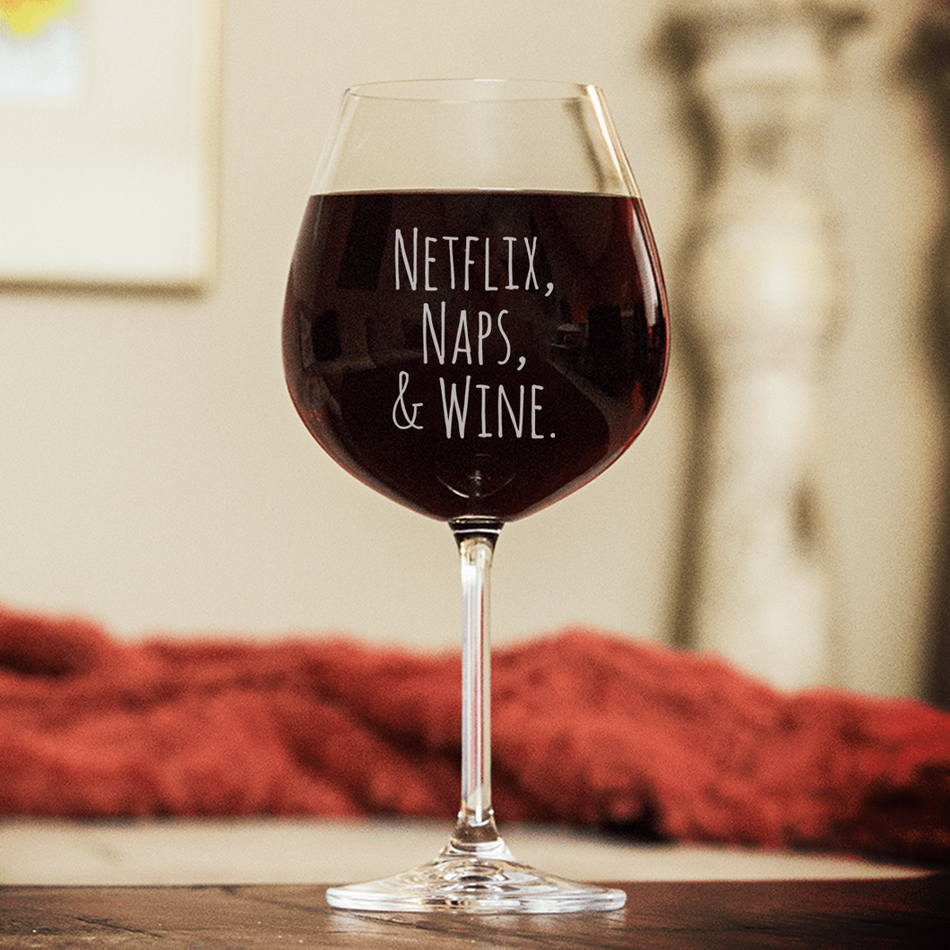 Designs by MyUtopia Shout Out:Netflix, Naps & Wine Engraved Wine Glass