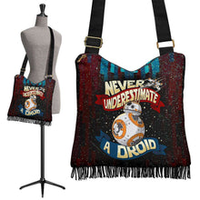 Load image into Gallery viewer, Designs by MyUtopia Shout Out:Never Underestimate a Droid Fabric Hobo Crossbody Purse