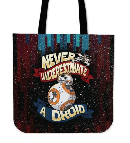 Designs by MyUtopia Shout Out:Never Underestimate a Droid Fabric Reusable Shopping Tote 16 x 16 inches
