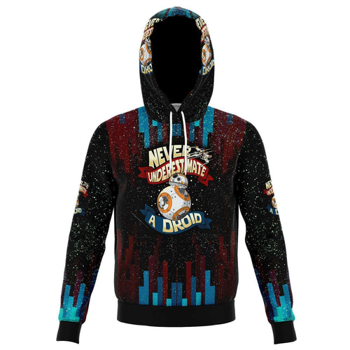 Designs by MyUtopia Shout Out:Never Underestimate a Droid Fleece Lined Fashion Pullover Hoodie,XS / Multi,Fashion Hoodie - AOP