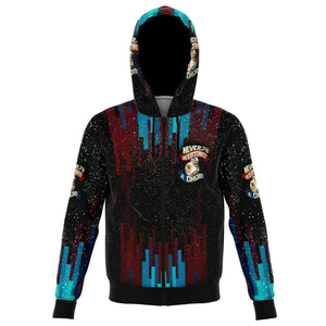 Designs by MyUtopia Shout Out:Never Underestimate a Droid Fleece Lined Fashion Zip Hoodie,XS / Multicolor,Fashion Zip-Up Hoodie - AOP
