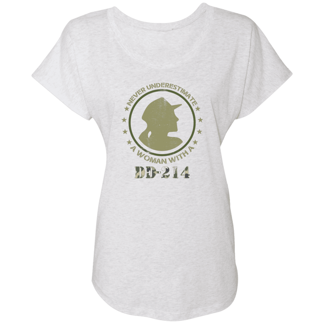 Designs by MyUtopia Shout Out:Never Underestimate A Woman With DD214 Ladies' Triblend Dolman Shirt,Heather White / X-Small,T-Shirts