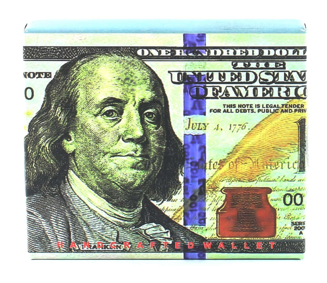 Designs by MyUtopia Shout Out:New 100-Dollar Bill Benjamin Vegan Leather Bifold Men's Wallet with Flip Up ID Window