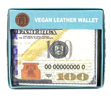 Load image into Gallery viewer, Designs by MyUtopia Shout Out:New 100-Dollar Bill Benjamin Vegan Leather Bifold Men's Wallet with Flip Up ID Window