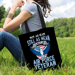 Designs by MyUtopia Shout Out:Not As Lean Still as Mean Air Force Veteran Fabric Totebag Reusable Shopping Tote