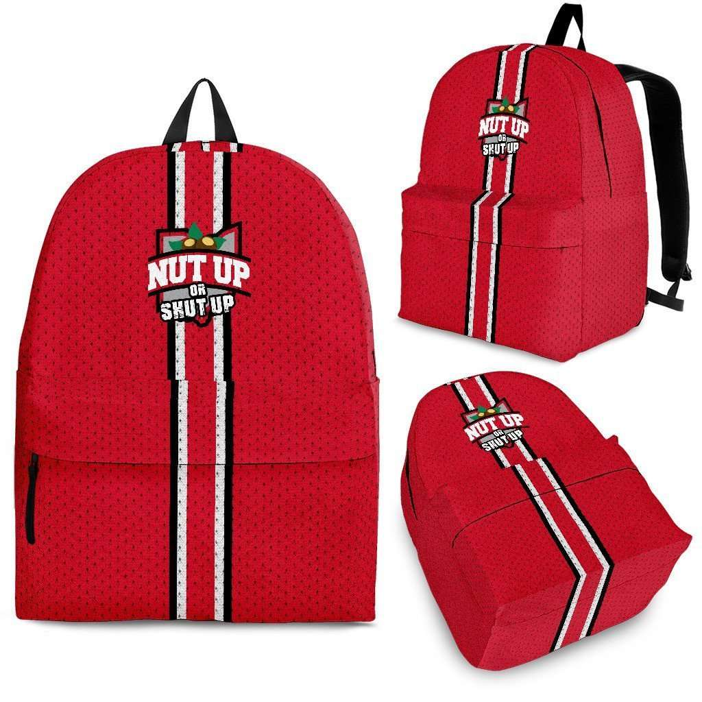 Designs by MyUtopia Shout Out:#NutUpOrShutUp Ohio State Fan Backpack,Large (18 x 14 x 8 inches) / Adult (Ages 13+) / Red,Backpacks