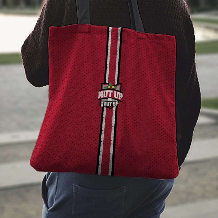 Designs by MyUtopia Shout Out:#NutUpOrShutUp Ohio State Fan Fabric Totebag Reusable Shopping Tote
