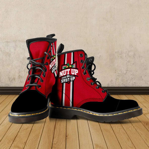 Designs by MyUtopia Shout Out:#NutUpOrShutUp Ohio State Fan Faux Leather 7 Eye Lace-up Boots,Men's / Mens US5 (EU38) / Red/Black,Lace-up Boots