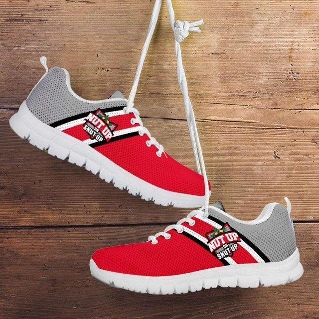 Designs by MyUtopia Shout Out:#NutUpOrShutUp Ohio State Fan Running Shoes,Mens US5 (EU38) / Red/Grey,Running Shoes