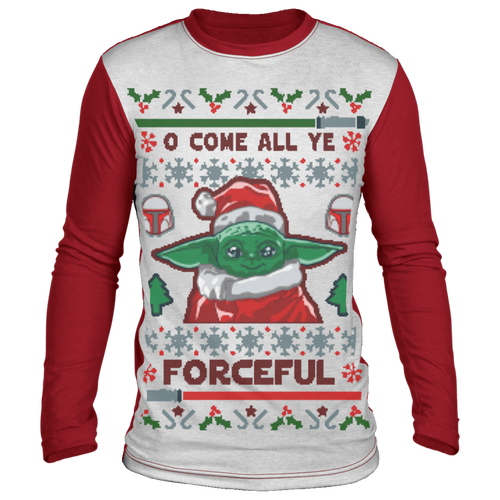 Designs by MyUtopia Shout Out:O Come All Ye Forceful Inspired by Baby Yoda Ugly Christmas 'sweater' Long Sleeve T-Shirt,White/Red / S,Long Sleeve T-Shirts