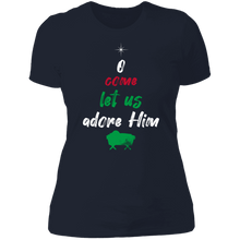 Load image into Gallery viewer, Designs by MyUtopia Shout Out:O Come Let Us Adore Him - Ultra Cotton Ladies' T-Shirt,Midnight Navy / X-Small,Ladies T-Shirts