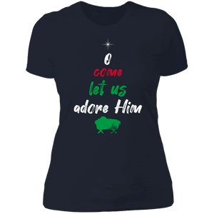 Designs by MyUtopia Shout Out:O Come Let Us Adore Him - Ultra Cotton Ladies' T-Shirt,Midnight Navy / X-Small,Ladies T-Shirts